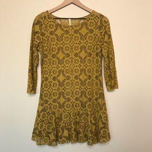 Free People Mustard Yellow Lace Dress